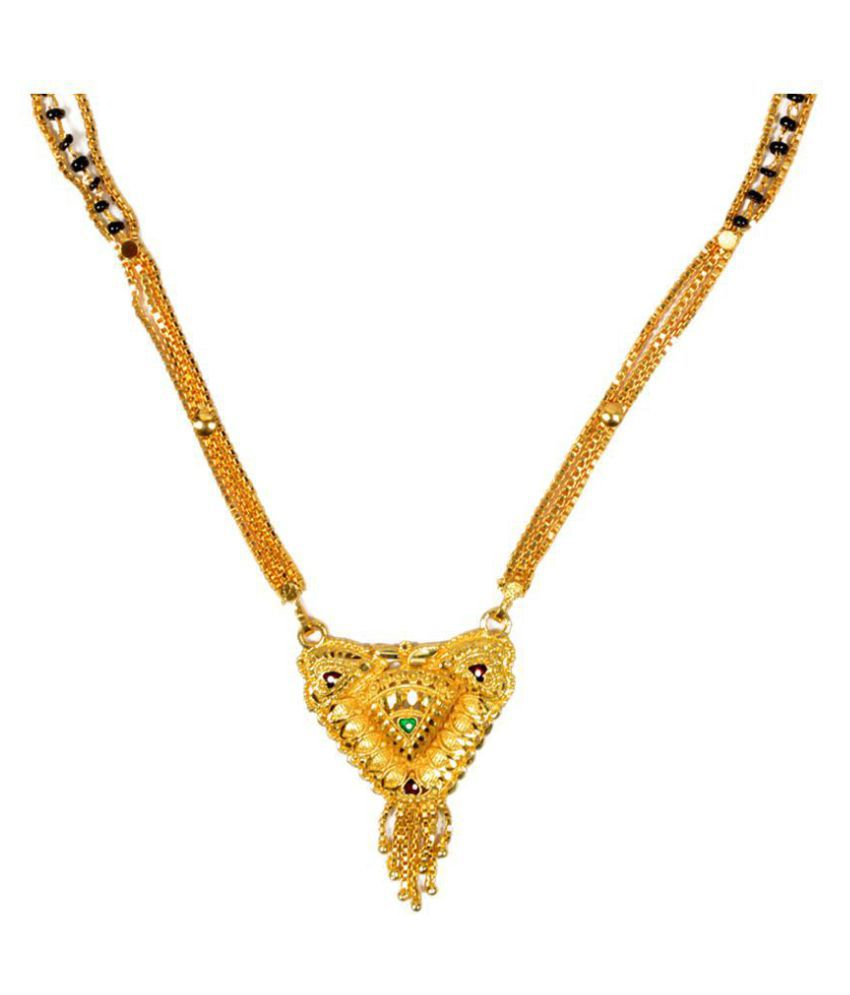 Mansiyaorange Party Wedding Wear One Gram Gold Mangalsutra For Women
