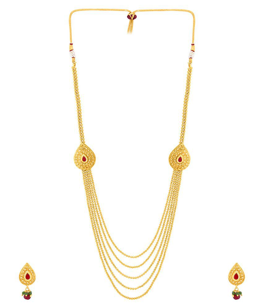 1385a69a3a56 ... Voylla Curvy Design Sanskriti Gold Plated Rani Haar Necklace Set ...