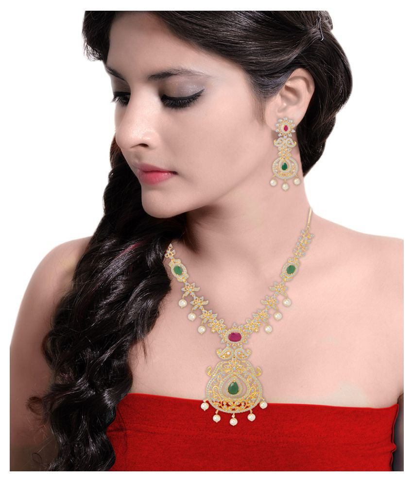 Voylla Pink, Green & White Stones Studded Necklace Set For Women