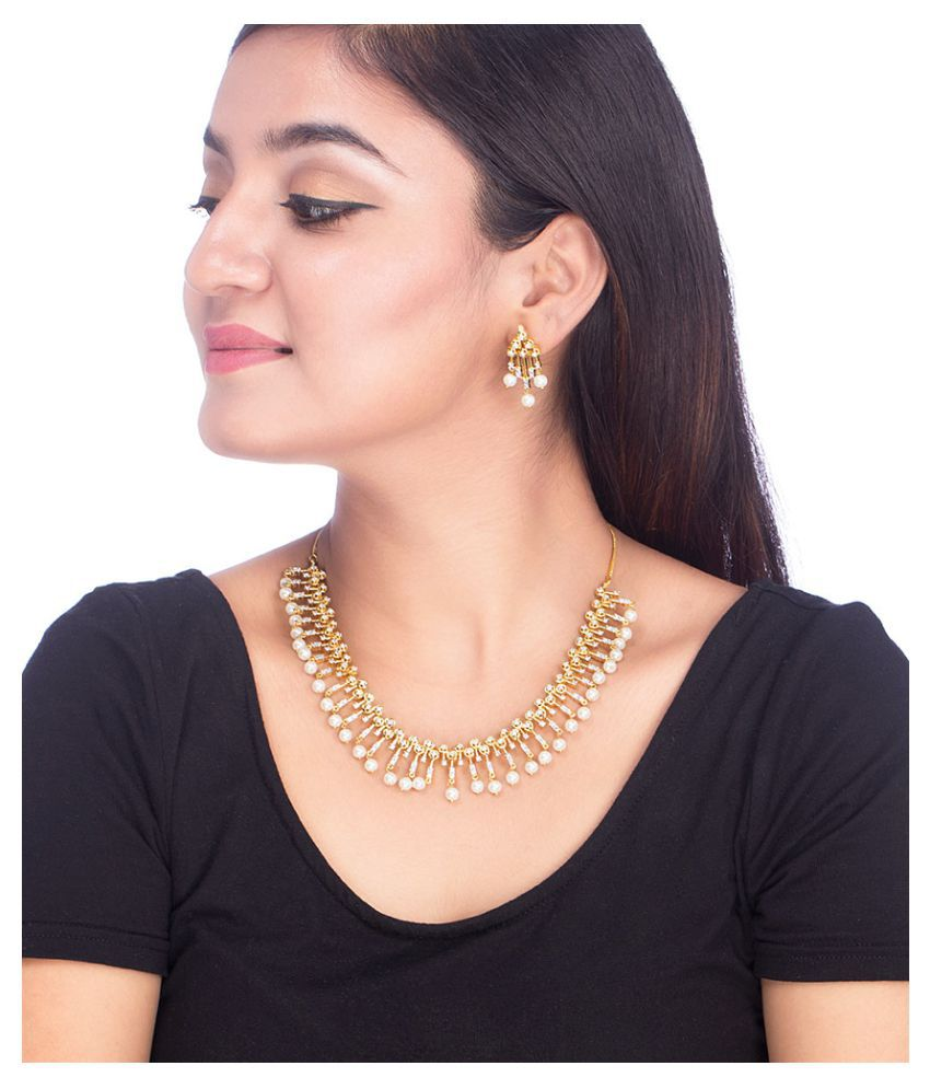 Voylla Yellow Gold Necklace Set With Pearl And CZ Collection