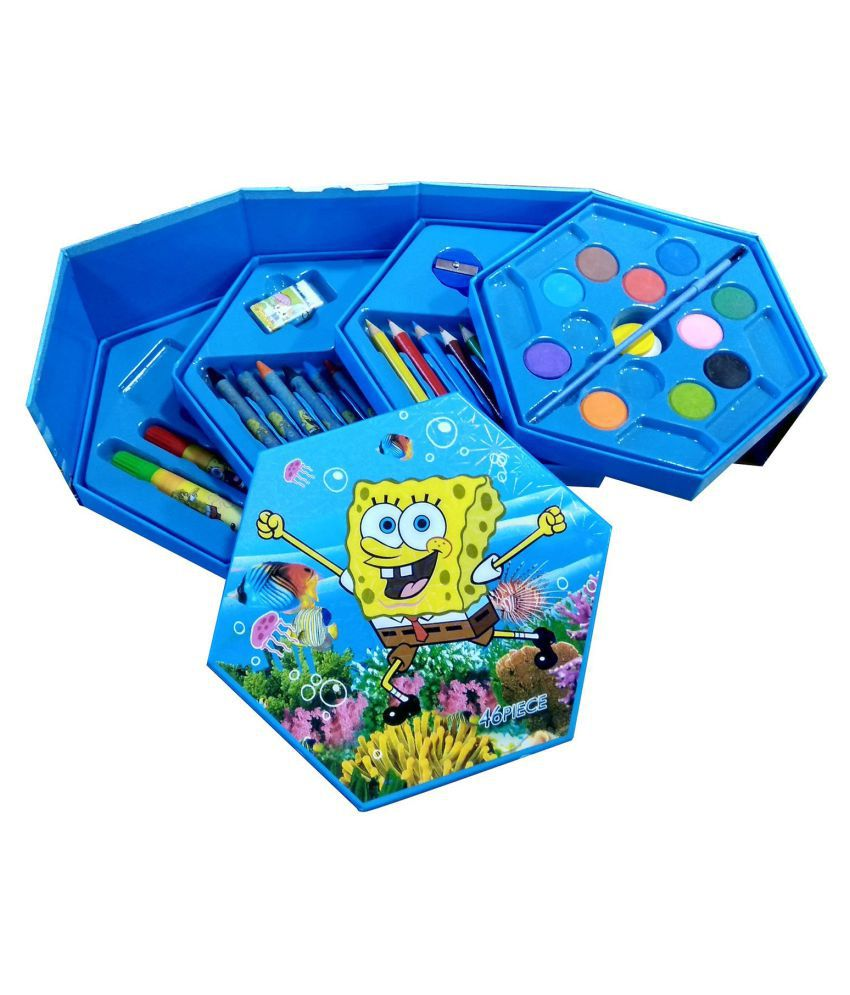 HickoryDickoryBox SpongeBob All in 1 Colors Box - Color Pencils + Water Colors + Crayons + Sketch Pens Best Birthday Gift for Kids 46 Pcs (DESIGN AND COLOR MAY CHANGE)