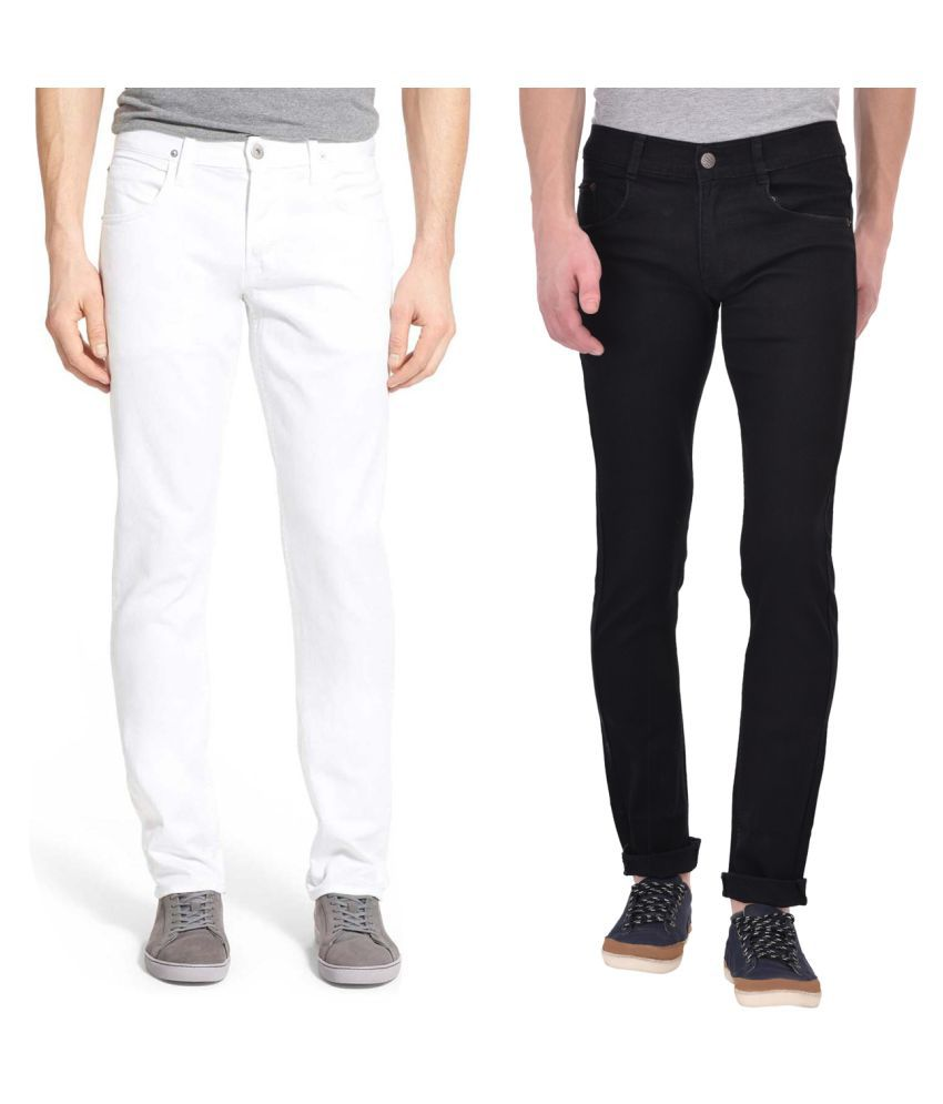 Ansh Fashion Wear White Regular Fit Jeans