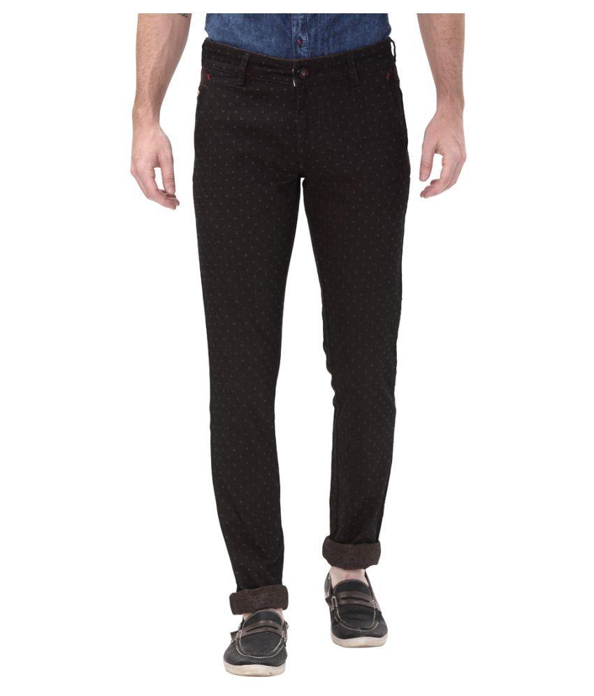Apris Coffee Slim -Fit Flat Trousers