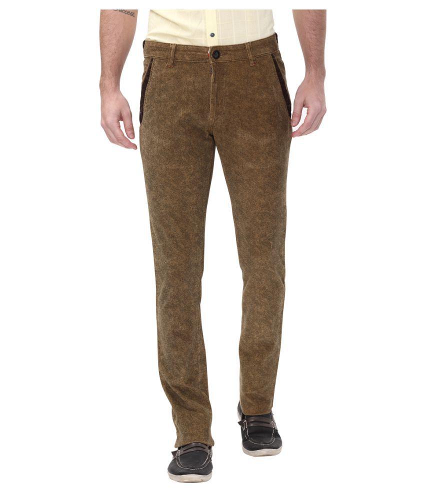 Apris Khaki Slim -Fit Flat Trousers