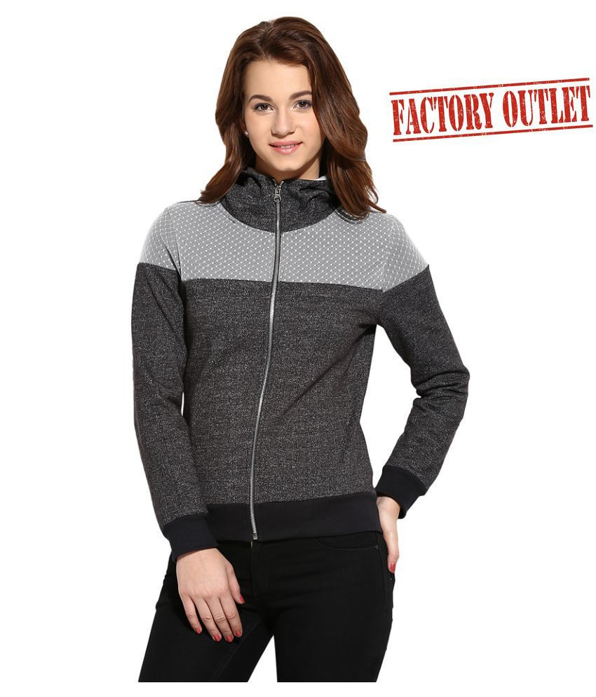 Campus Sutra Gray Cotton Zippered