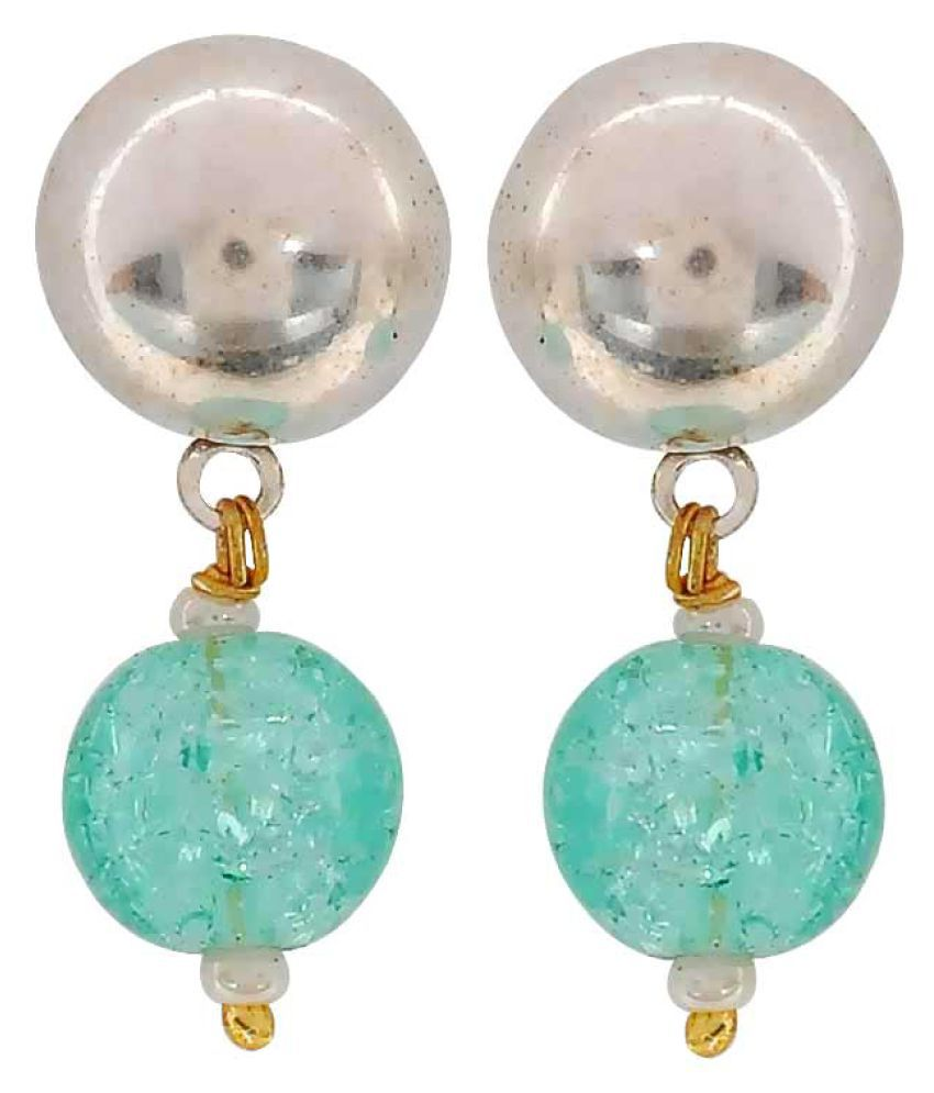 Maayra Designer Ball Earrings Green Dangler Drop Dailywear Jewellery