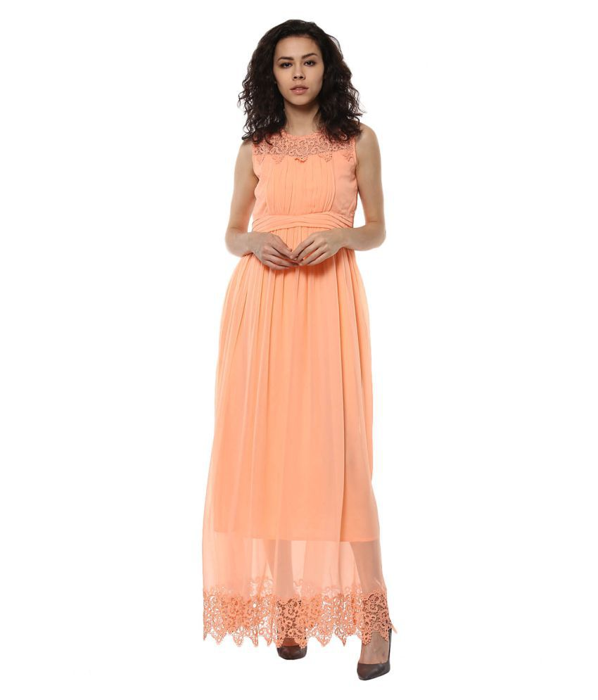 Soie Polyester Peach A- line Dress