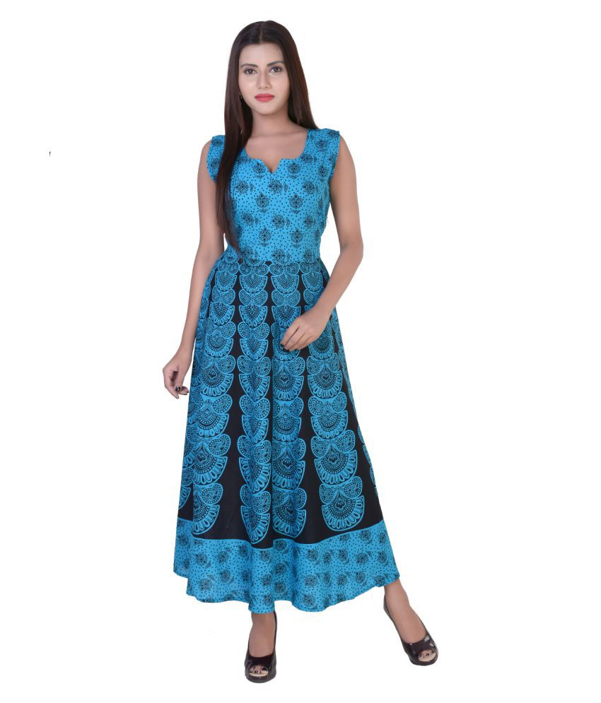 fabcolors Cotton Blue Fit And Flare Dress