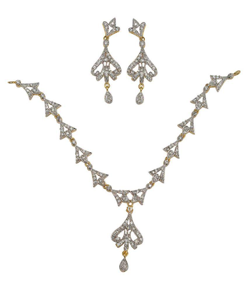 Taj Pearl Designer American Diamond Necklace set