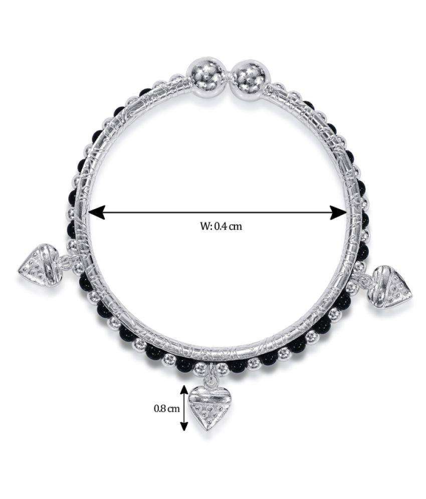 806be7cba3e0d Taraash Sterling Silver Black Beaded Heart Charm Nazriya Bangle Set of Two  For Kids BG1536S