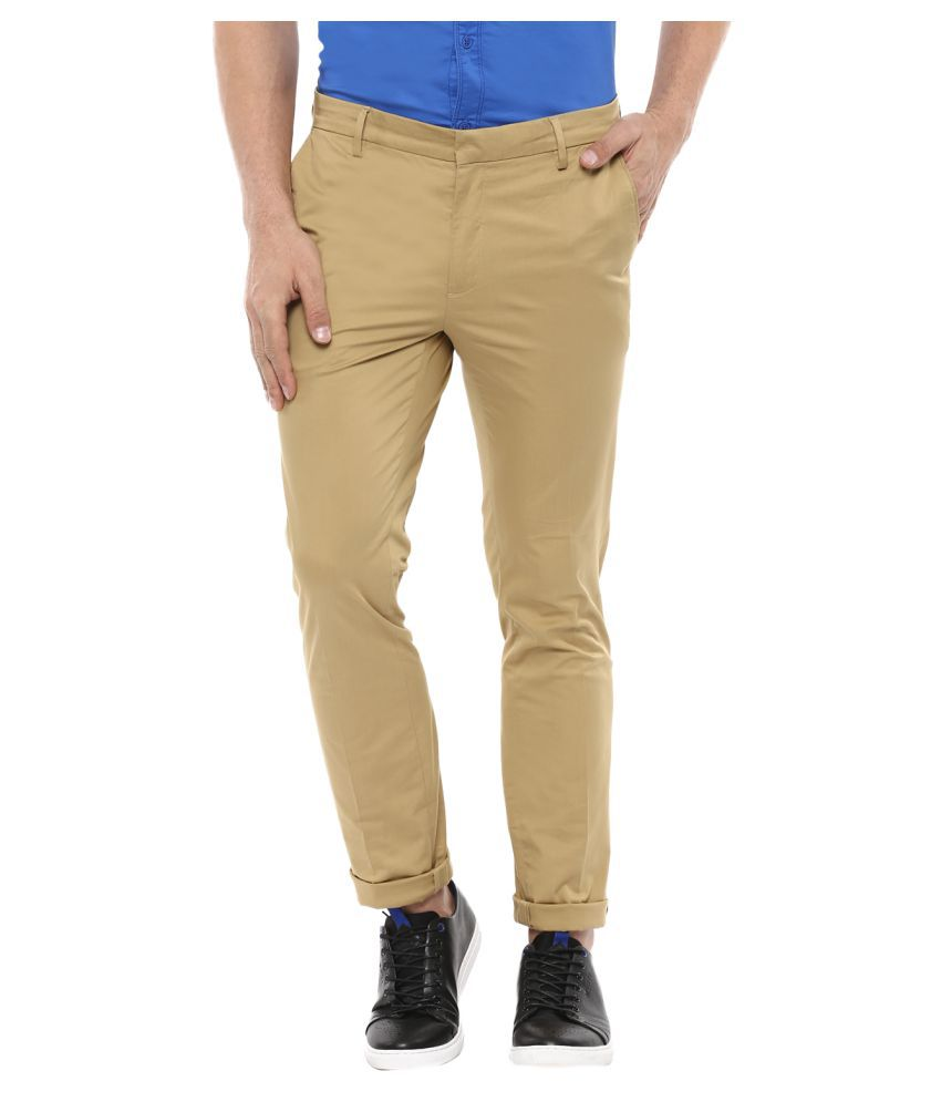 Mufti Beige Slim -Fit Flat Trousers