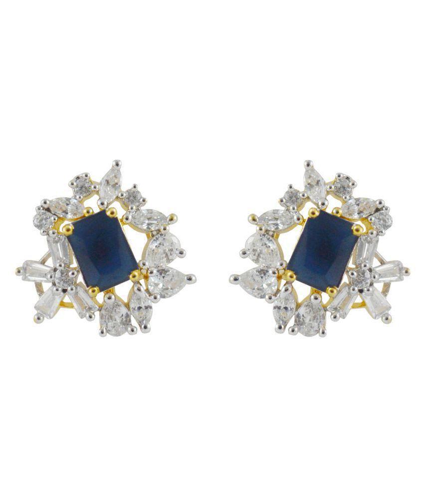 Rejewel Royal Blue Stone Simple Stud Earrings
