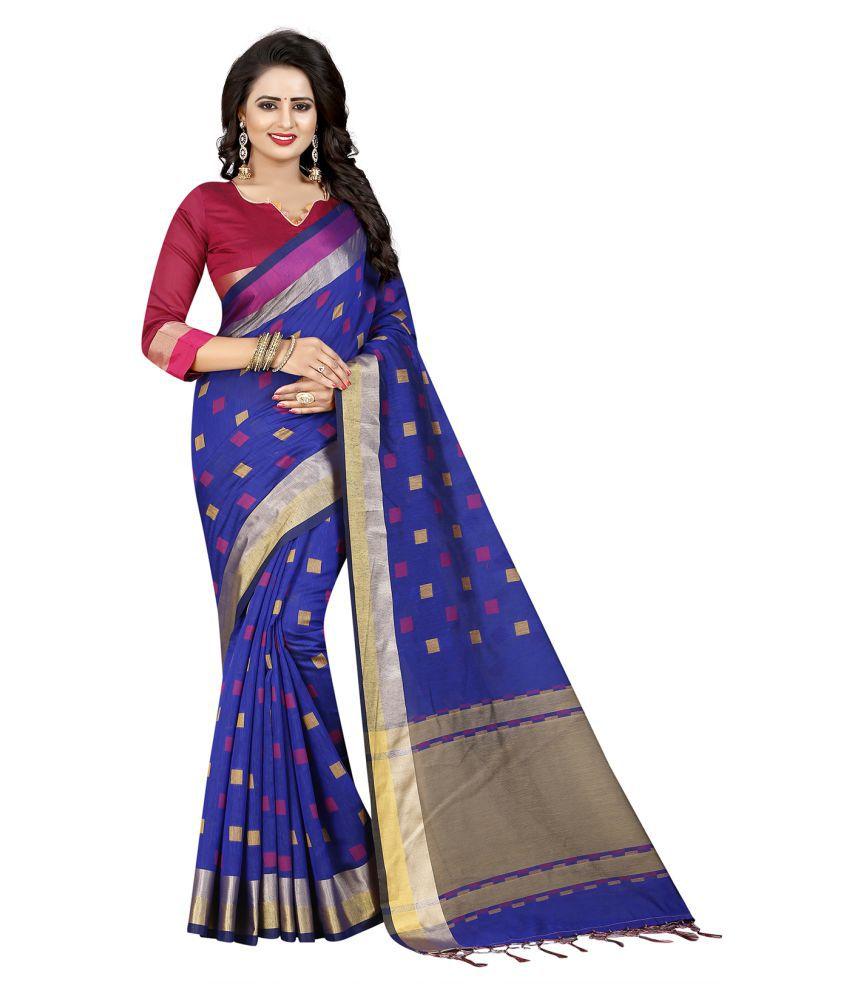Ishin Blue Art Silk Saree