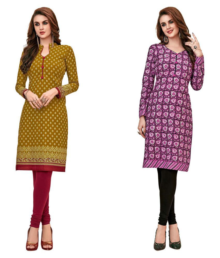 HRINKAR Brown Cotton Straight Kurti