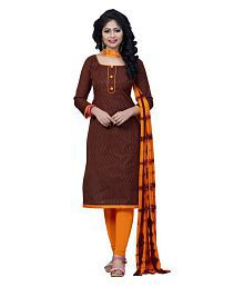 FASHION CARE Brown Cotton Dress Material