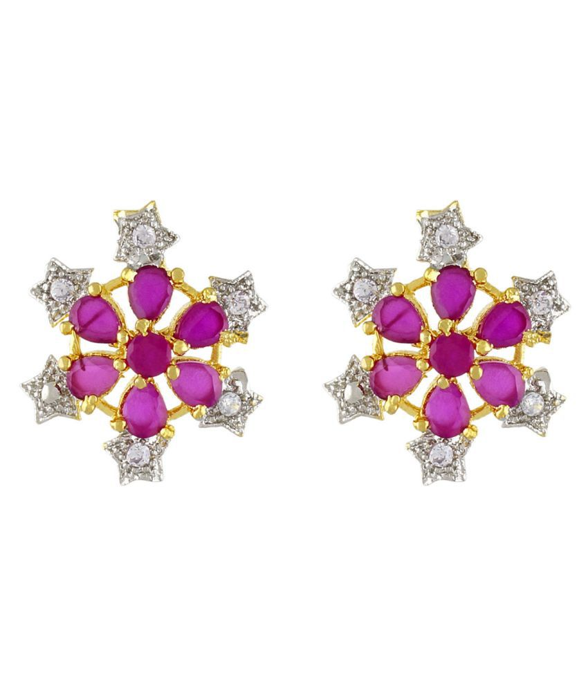 Magical Pink Ruby alike Semiprecious Stone Cz Earrings for Girls / Women By Khanakk