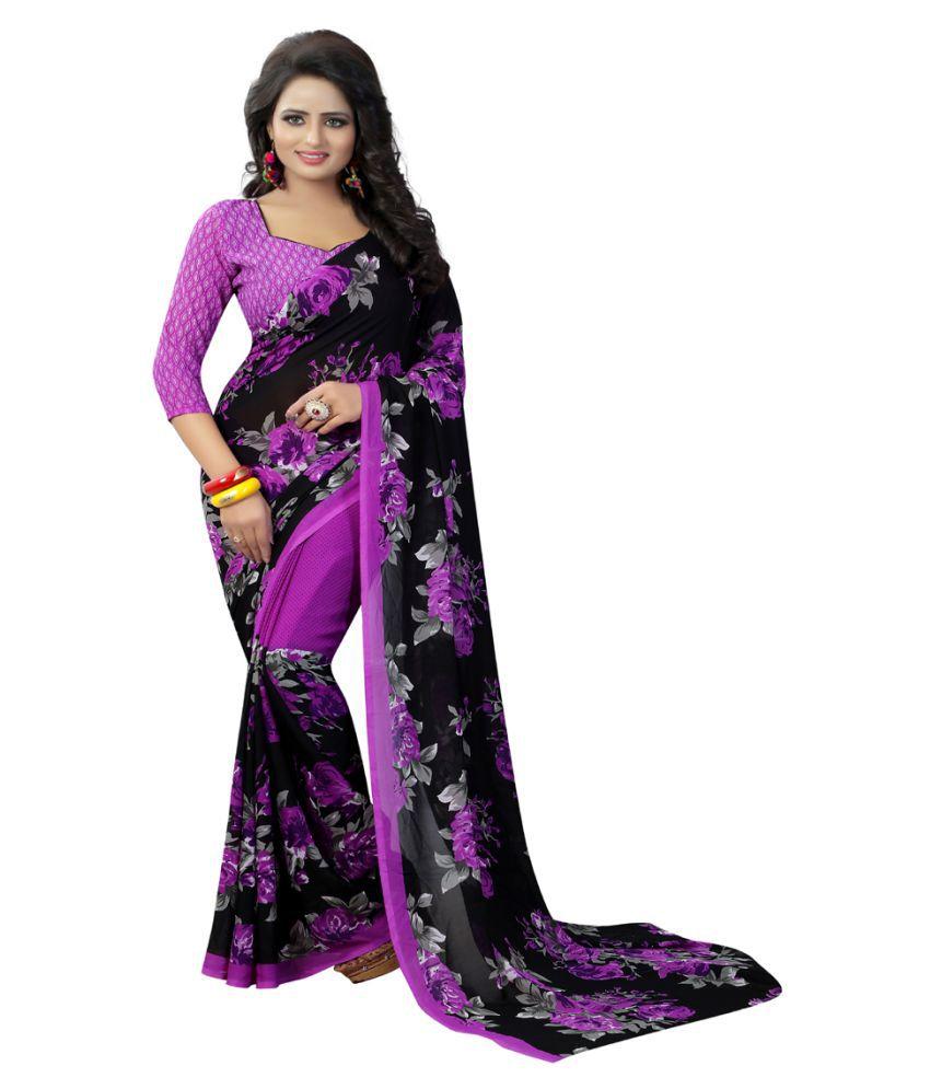 kavya Fashion Purple Georgette Saree