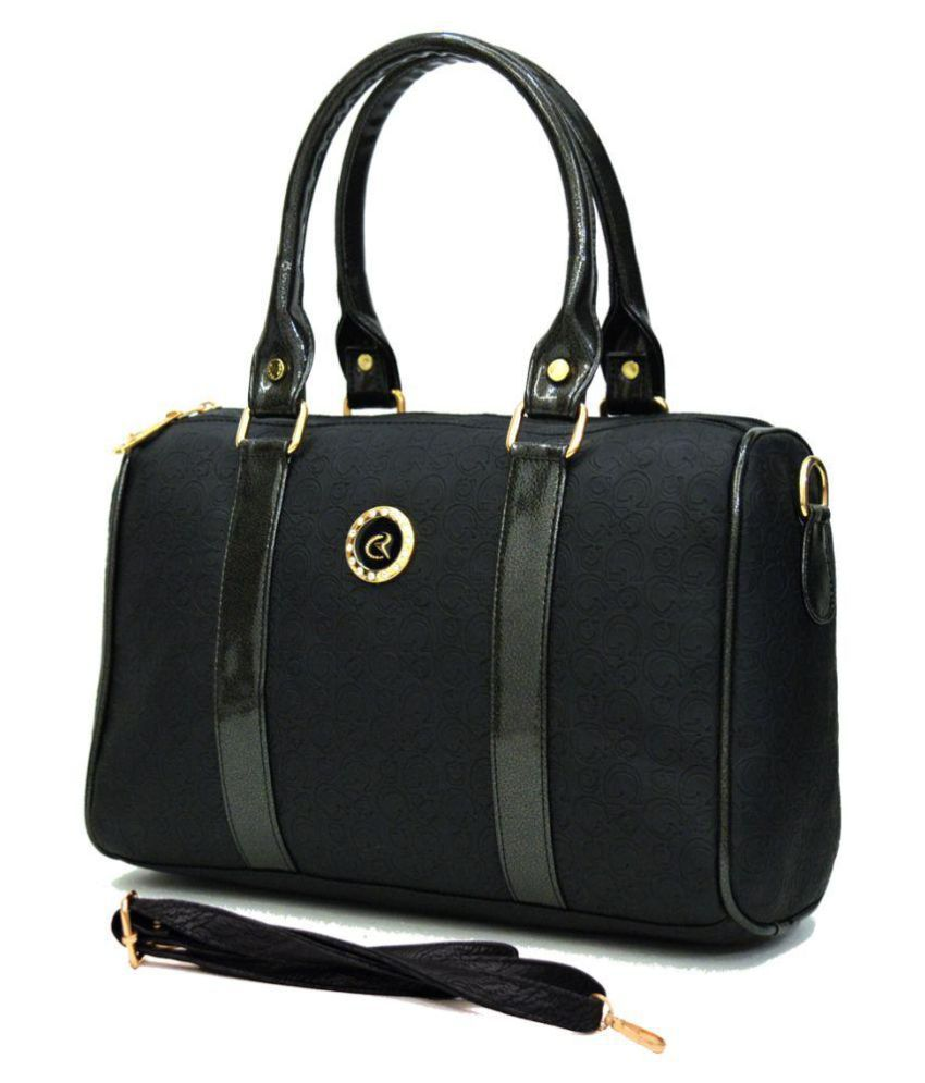 AGINOS Black Faux Leather Handheld