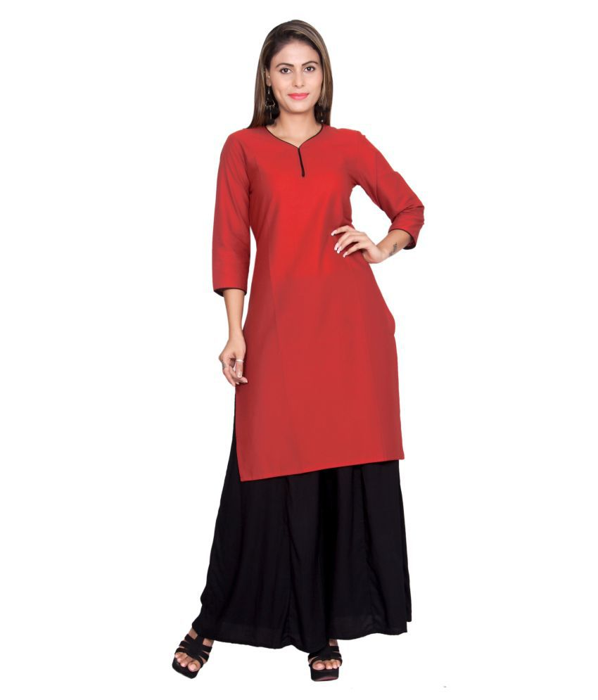 JTInternational Red Cotton Straight Kurti