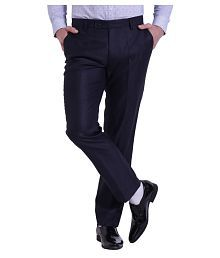 Try This Navy Blue Slim -Fit Flat Trousers