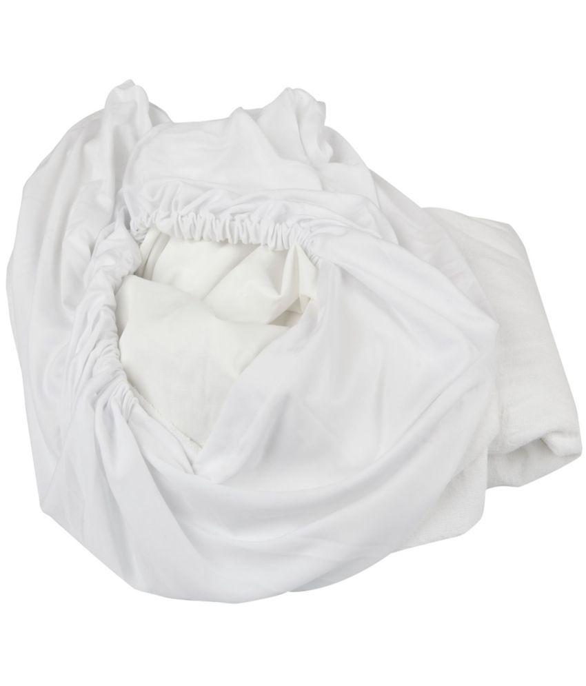 Just Linen Just Linen 150 TC Single  SizeMattress Protector White Cotton Mattress Protector