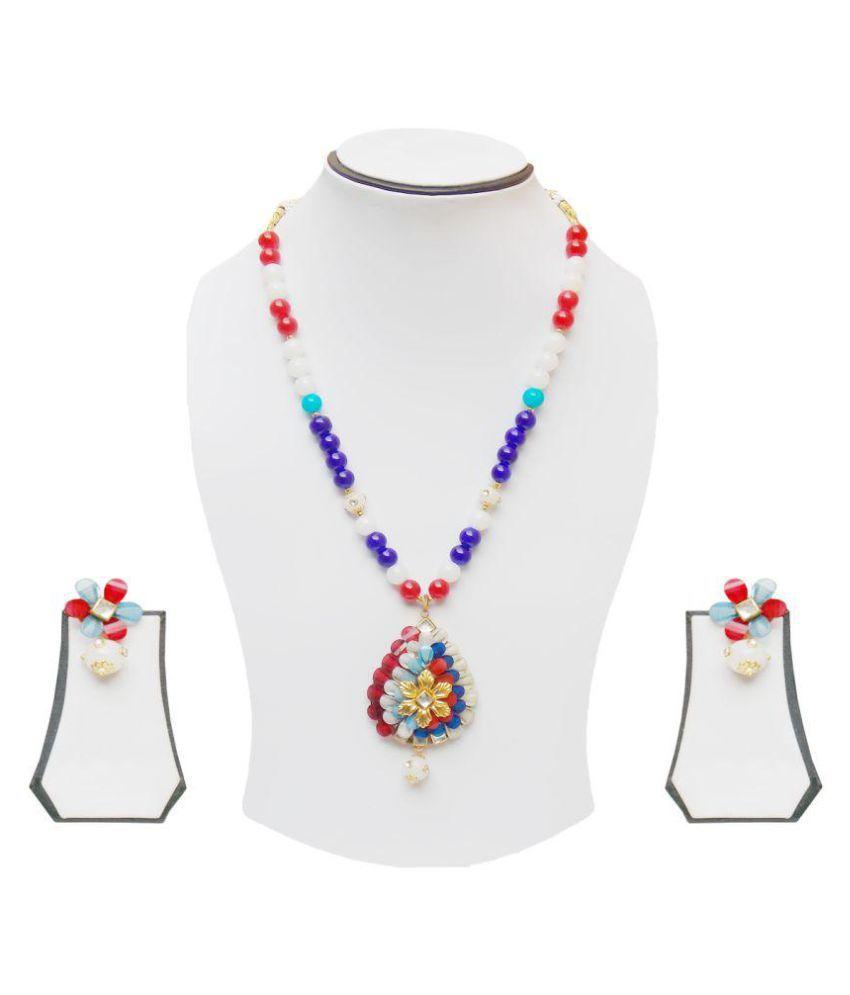 simbright multicolour pearl long necklace set