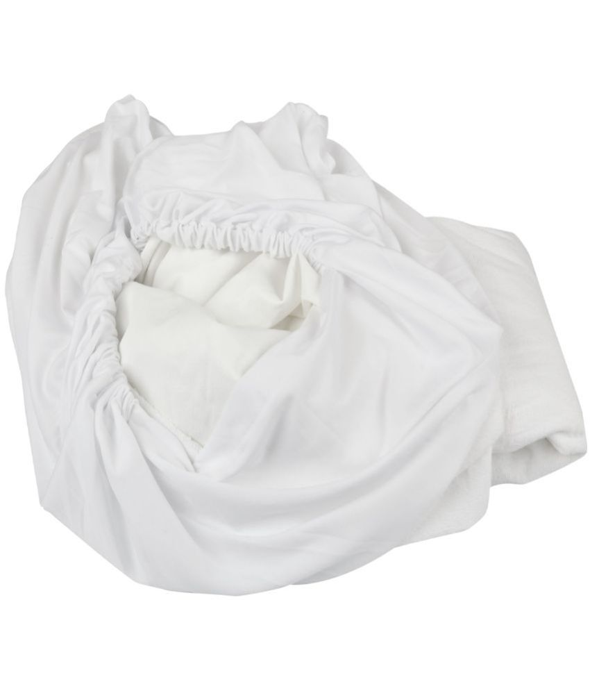 Just Linen Just Linen 150 TC Single  SizeMattress Protector White Polyester Mattress Protector