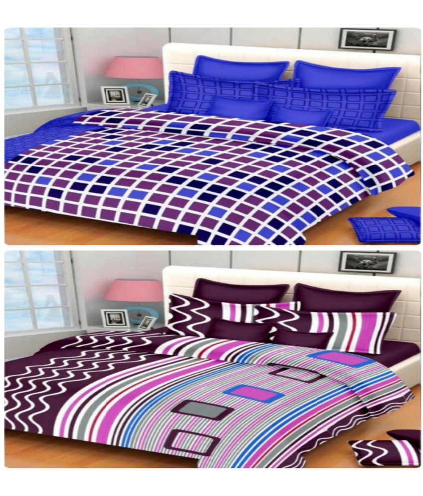 KHF Cotton Double Bedsheet with 2 Pillow Covers