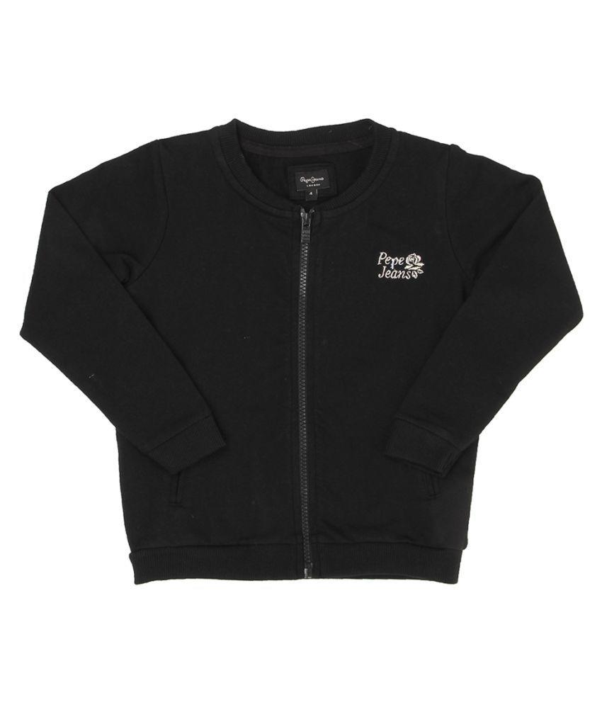 Pepe Jeans Girls Full Sleeve Casual Black Sweat Shirt