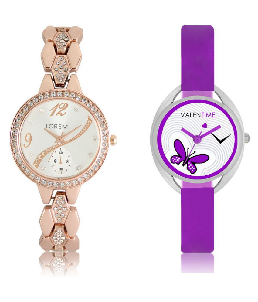 The Shopoholic White & Purple Analog With Butterfly Dial Metal And Plastic Belt Combo Watch For Girls-watches girls