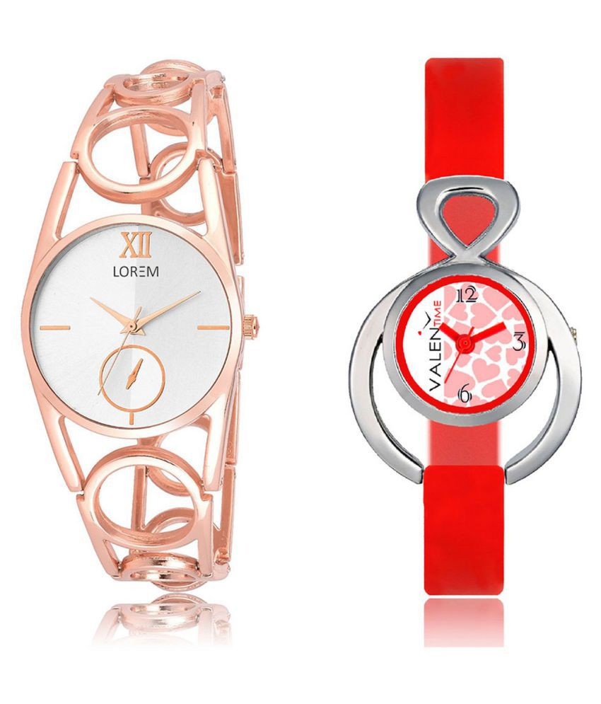 The Shopoholic White & Red Analog With Latest Heart Dial Metal And Plastic Belt Combo Watch For Girls-watches for girls
