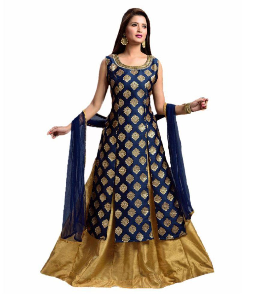 sukhnath creation Navy Jacquard Anarkali Gown Stitched Suit