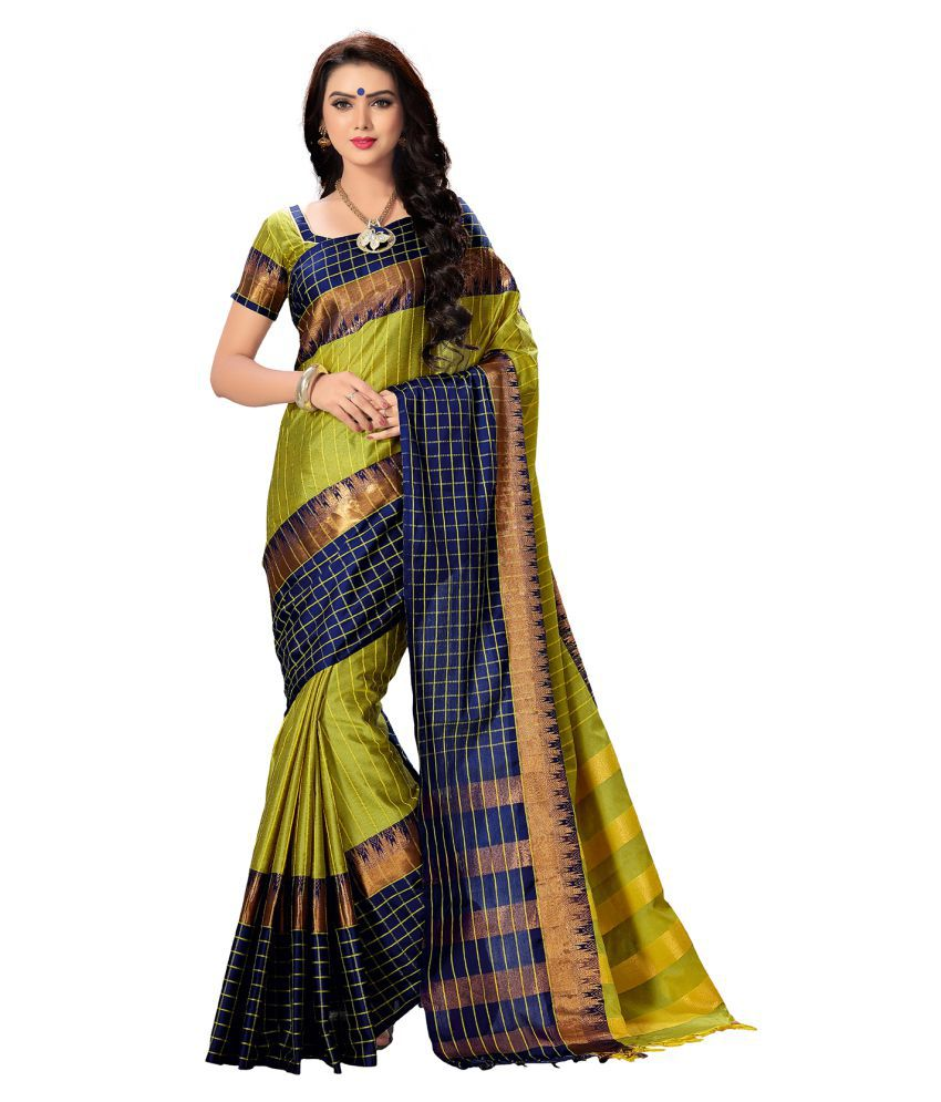 Ishin Green Cotton Blend Saree