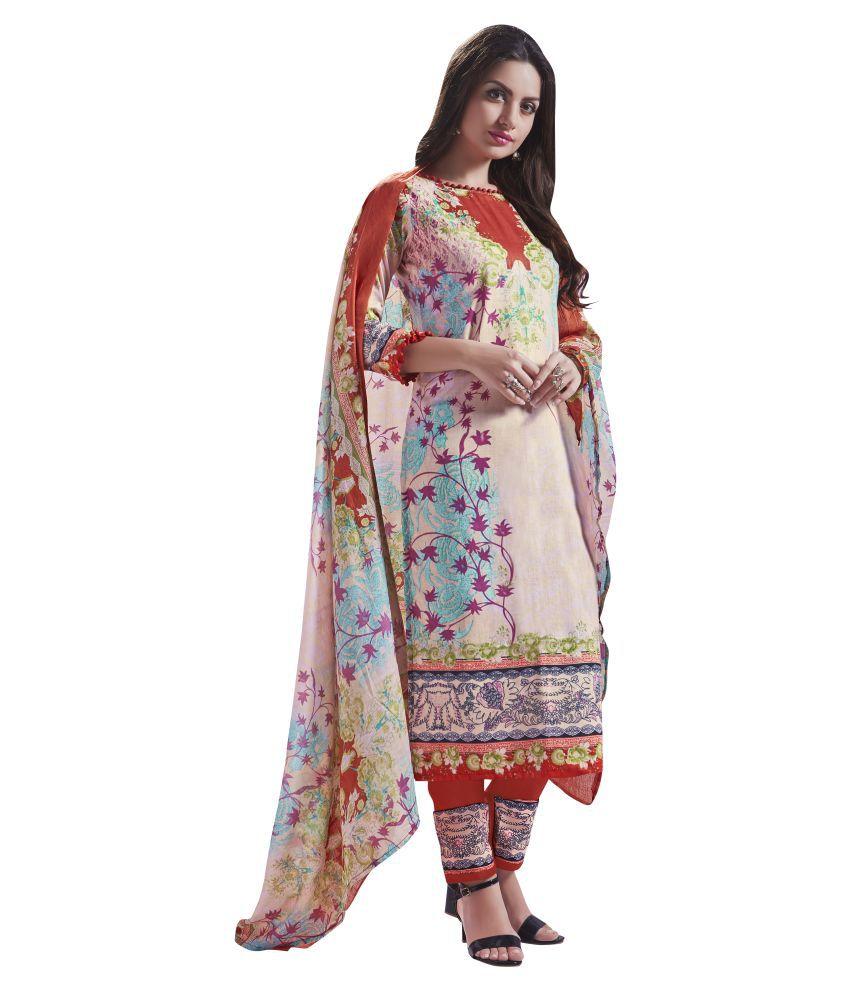 Manvaa Multicoloured Cotton Dress Material