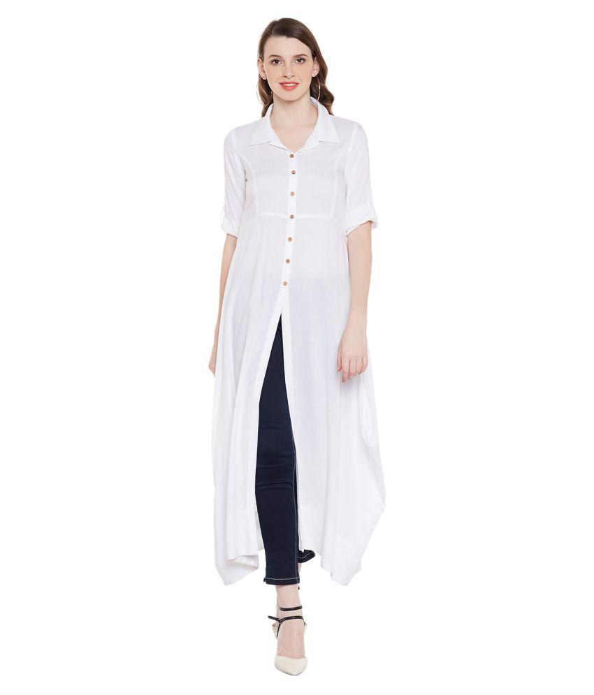 Natty India Rayon White Dresses
