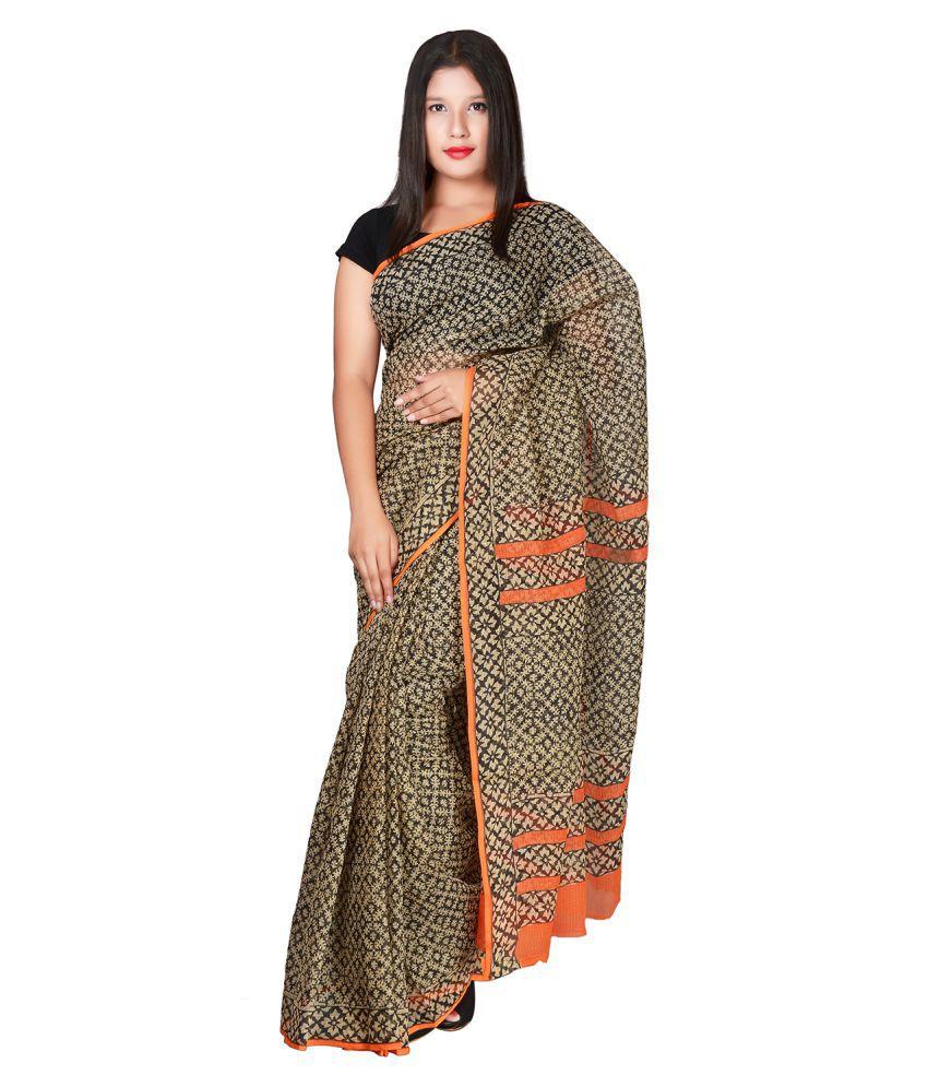 PANVI Black Cotton Silk Saree