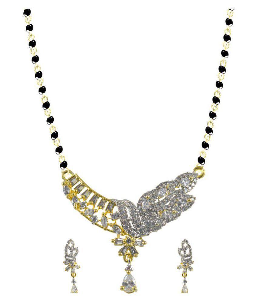 Rejewel Engaging American Diamond Mangalsutra Pendant Set