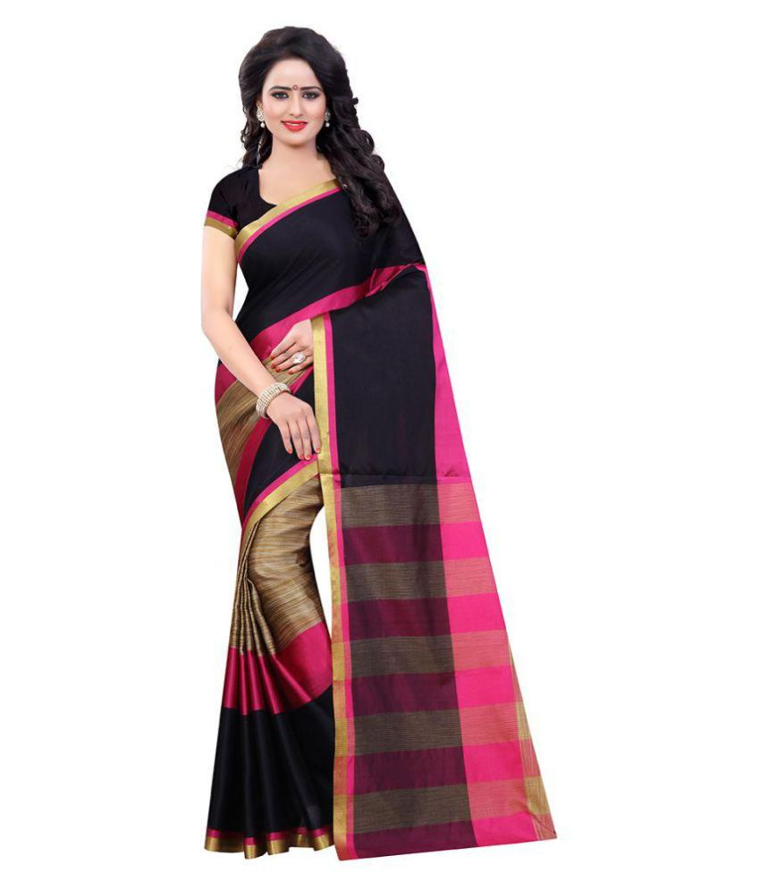 varney trendz Pink Cotton Silk Saree