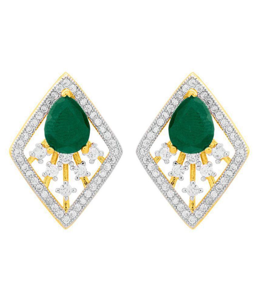 Voylla Diamond Shaped Green CZ Studded Earrings  For Women