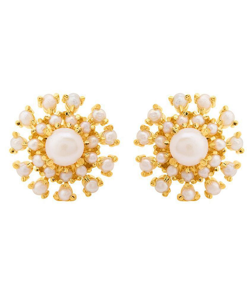 Voylla Pear Adorned Stud Earrings