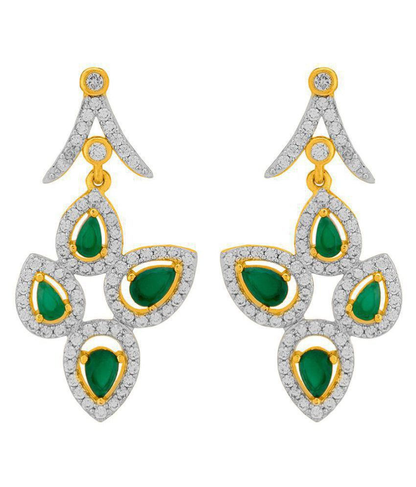 Voylla  Pear Motif Earrings with Green and White CZ For Women