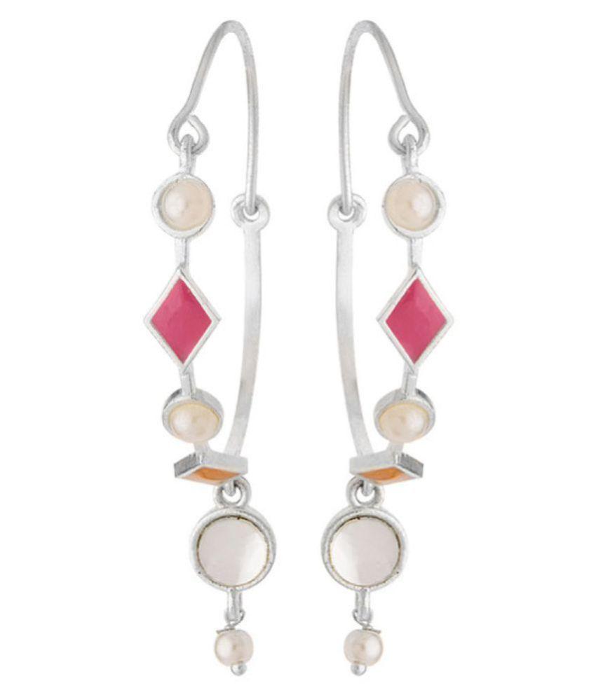 Beautiful Silver Plated Ethnic Hoop Earrings