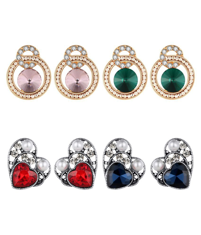 Jewels Galaxy Crystal Elements Dazzling Colors Antique Heart & Round Shape Ambitious Earrings For Women/Girls - Combo Of 4