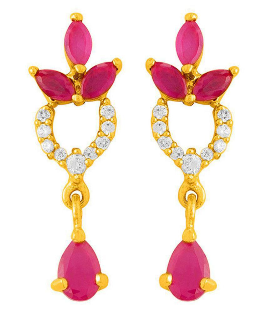 Voylla Floral Earrings with Yellow Nickel Plating