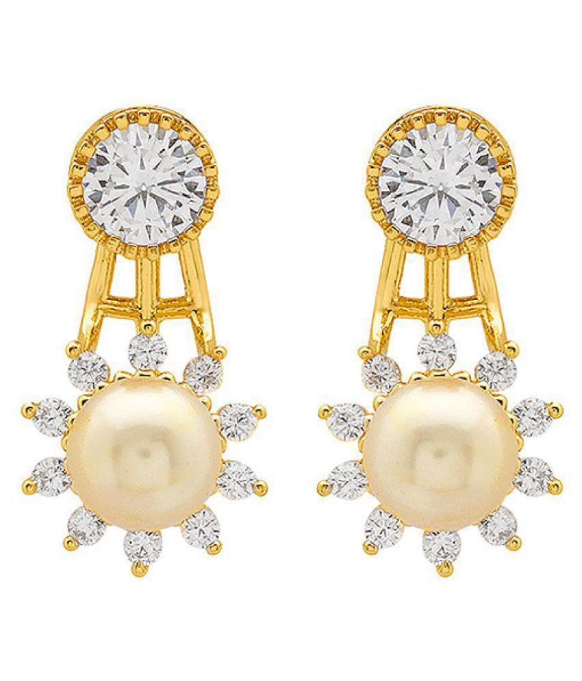 Voylla Pearl Studded Swarnam Gold Plated Earrings