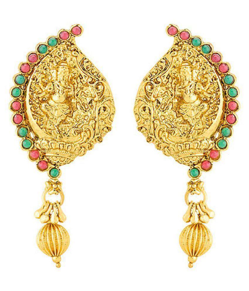 Voylla Sanskriti Ganesha Engraved Earrings with Gold Plating