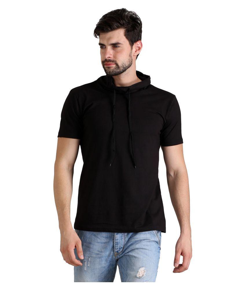 FLINGR Black Hooded T-Shirt Pack of 1
