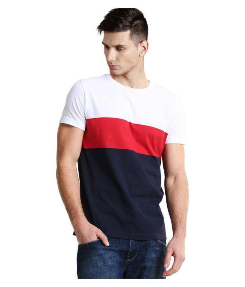32064766c81f6d Sarfira Striped Men Round Neck White, Red, Blue T-Shirt - Buy Sarfira Striped  Men Round Neck White, Red, Blue T-Shirt Online at Low Price - Snapdeal