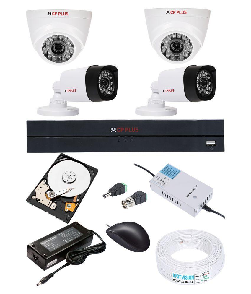CP PLUS DVR 1Pcs,Bullet Camera 2Pcs,Dome Camera 2Pcs,1 TB HDD 1Pcs,Wire Bundle 1Pcs, Smps 1Pcs,BNC AND DC Surveillance Kit