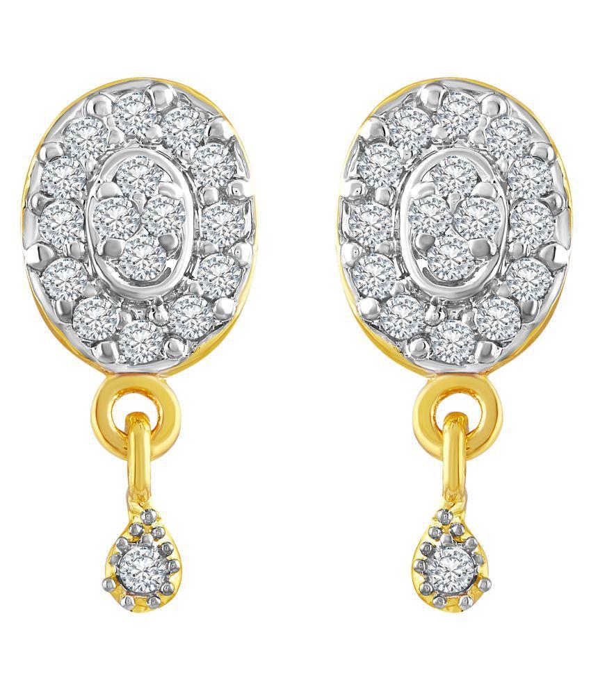Asmitta Royal Oval Shape American Diamond Gold Plated Dangle Earring For Women